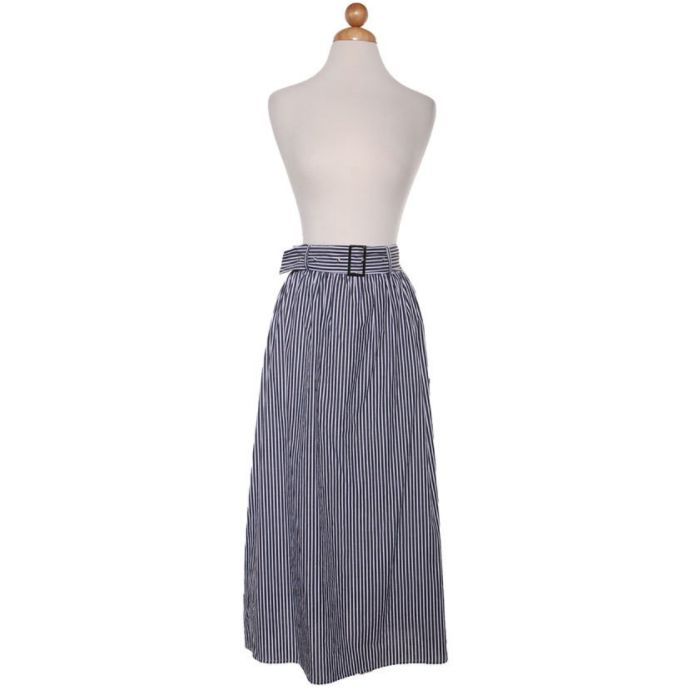 Black Stripe Belted Mid-Length Skirt
