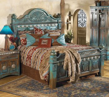 Beautifully hand-carved bedroom furniture with raised-panel design and large silver concho embellishments in a rich three-color stain finish. Available in turquoise or black. Turquoise IN STOCK now at Tin Star Furniture.