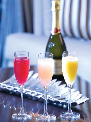 Strawberry BelliniSanta Margherita Prosecco 1/4 oz. strawberry liqueur 1 oz. strawberry puree  Guava Bellini Santa Margherita Prosecco 1/4 oz. Cruzan Guava Rum 1 oz. guava puree  Kiwi Bellini Santa Margherita Prosecco 1/4 oz. Midori 1 oz. kiwi puree Add Santa Margherita Prosecco first into a champagne flute to eliminate fizz. Add 1/4 oz. alternate liqueur as per ingredients. Shake the puree and add to the drink. Stir.  Courtesy of the Phoenician in Arizona   - MarieClaire.com