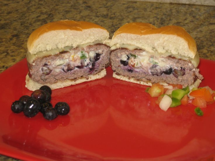 Stuffed Three Cheese Blueberry Burger made with the Burger Pocket Press www.burgerpocketpress.com
