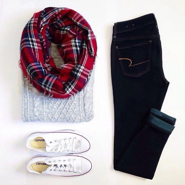 Grey knit sweater, dark jeans, plaid scarf, converse