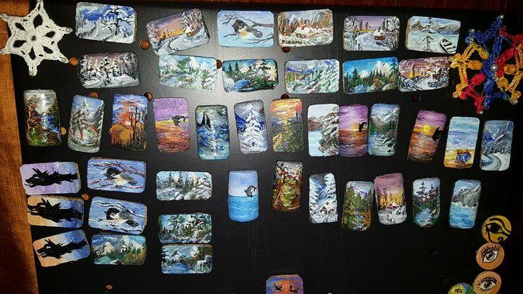 Peisaje pictate manual în acrilic pe dopuri de plută  - Magneţi pentru frigider