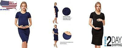 Women Pregnant Maternity Cotton Bodycon Summer Party Dress Breathable Safety #f… – Maternity