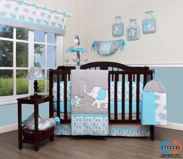 Baby Blizzard Blue Grey Elephant 13 Piece Nursery CRIB BEDDING SET | Baby, Nursery Bedding, Nursery Bedding Sets | eBay!