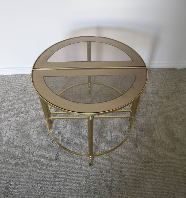 midcentury brass smoked glass mirrored side tables after maison bagus