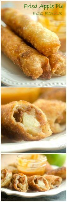 Fried apple pie egg rolls are a fun twist on traditional apple pie. These fried apple hand pies, with their sweet crispy crust, are perfect for picnics or packing into lunch boxes. This is one of my favorite apple dessert recipes!