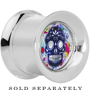 9/16'' Steel Sugar Skull Floral Reversible Mirror Screw Fit Plug   Body Candy Body Jewelry