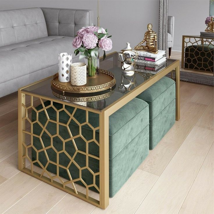 2 Modern Ottoman Glass Metal Coffee Table Set Rectangle ...