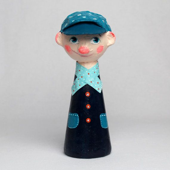 Noah the Newsboy OOAK Paper Mache Art Doll by Charlotte Engel Studio