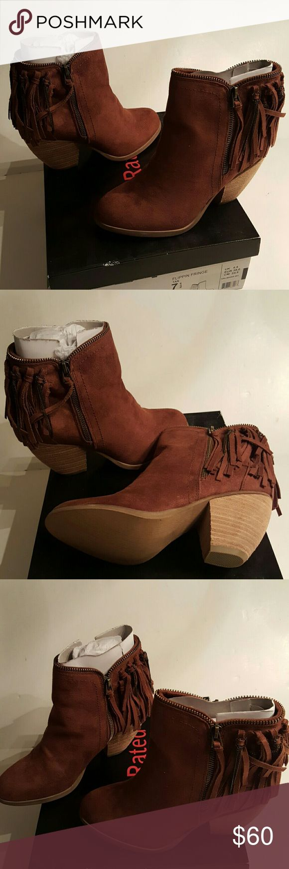 Not Rated Flippin Fringe Brown Boots US 7.5 EU 38 Not Rated Flippin Fringe Brown Boots US 7.5 EU 38 new in box Not Rated Shoes Ankle Boots & Booties