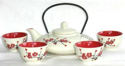 $25 JAPANESE CHERRY BLOSSOM TEA SET Oriental 5pc Red & White Text 0411691171 or email info@bitspencer.com