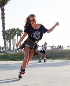Rollerblading on Miami South Beach