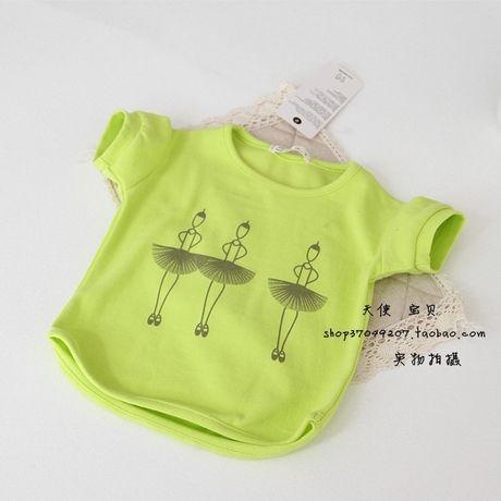 Корейская версия 2014 весной и летом детский балет хлопка с коротким рукавом футболки ребенок вершины маленькая принцесса свежий воздух - Та ...