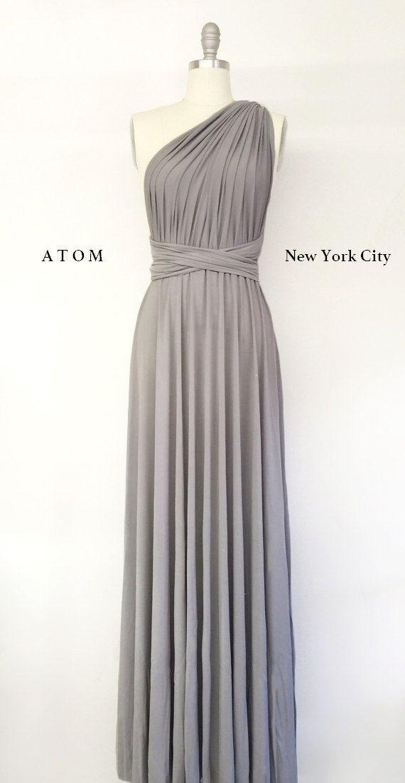 Silver Light Grey LONG Maxi Infinity Dress Gown Convertible Formal Multiway Wrap Dress Bridesmaid Dress Evening Dress Toga Dress