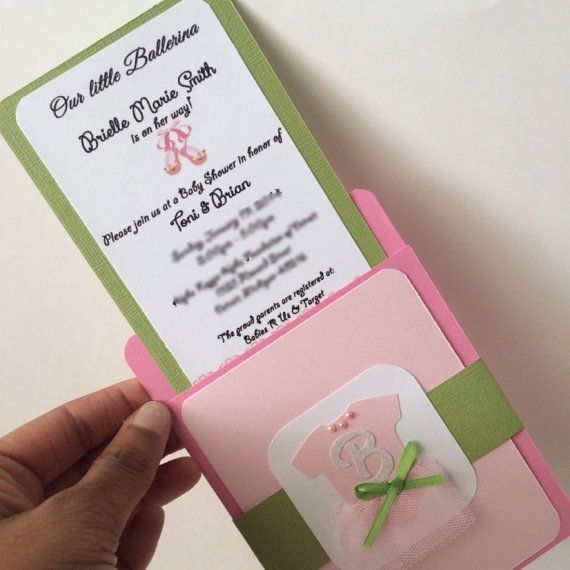 Ballerina Baby Shower Invitation by HotPinkStudios on Etsy