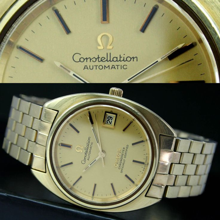 1974s Vintage OMEGA Constellation Automatic Date Steel / Gold Mens Watch & Band