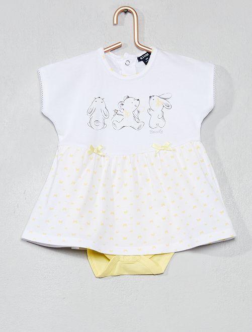 f70a2e188 Vestido con body integrado 'mariposas' AMARILLO Bebé niña - Kiabi ...