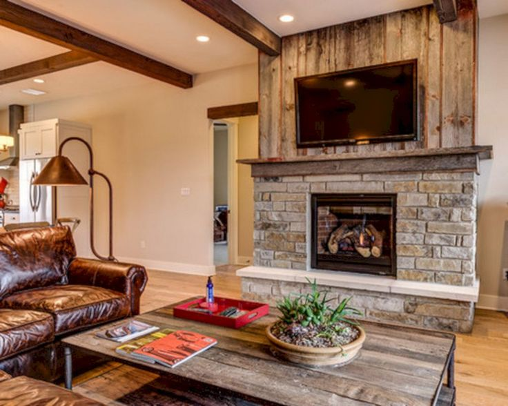 45 modern family room with beautiful stone and shiplap fireplace design ideas