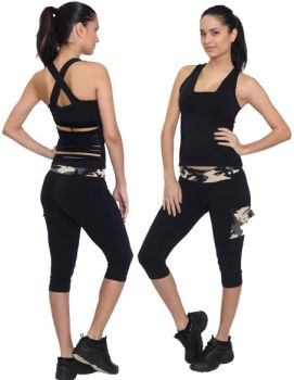 Equilibrium Activewear C325 Capri Camo Workout Clothes | NelaSportswear | Women's fitness activewear workout clothes exercise clothing