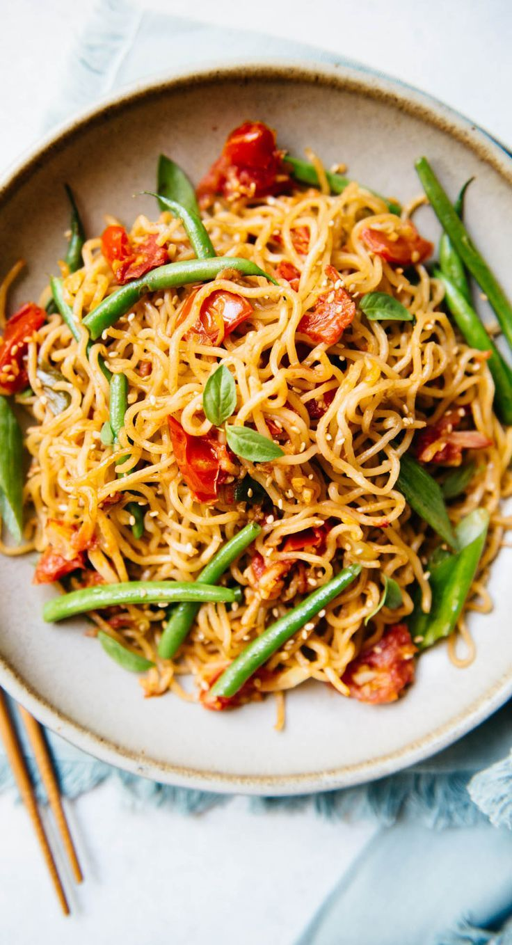 Vegetable Chow Mein With Tomatoes Green Beans Recipe Chow