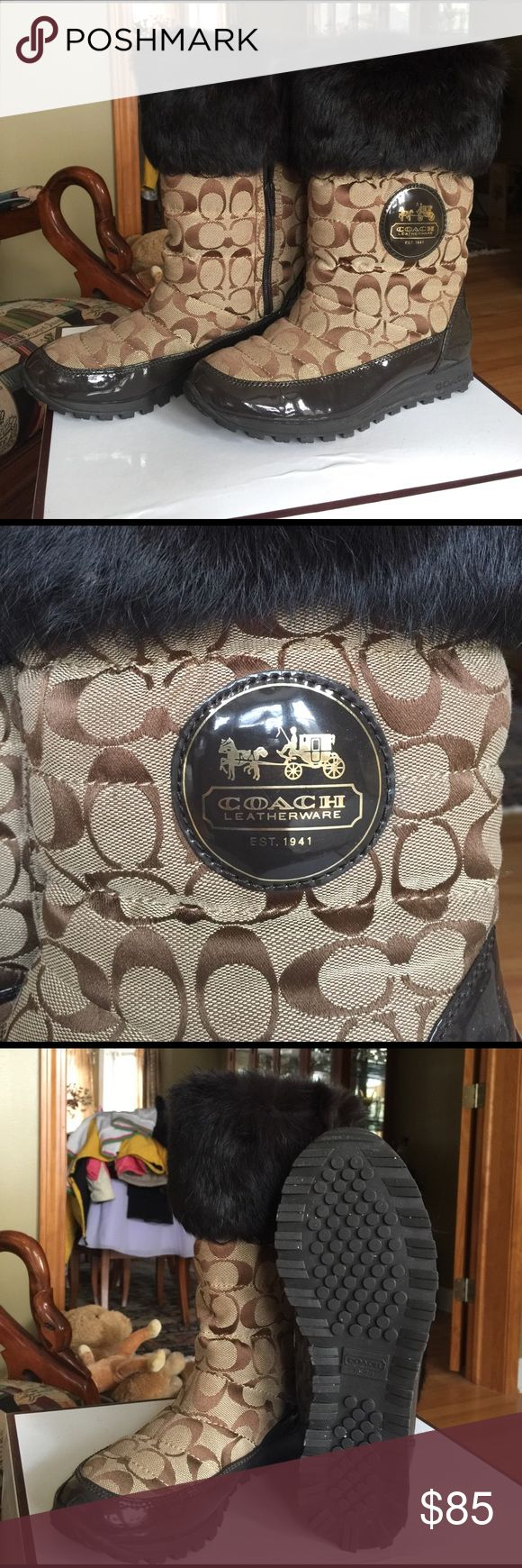 """Coach boots size 7.5 B Coach Boots brown """"C"""" design with brown fur and brown patent leather.  Excellent condition  size 7.5 B. Barely worn. Cute and warm Coach Shoes Winter & Rain Boots"""