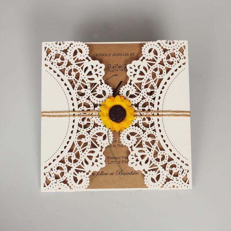 Laser Cut Wedding Invitations Ivory Wedding Invite Sunflower Invitation Cards With Envelope