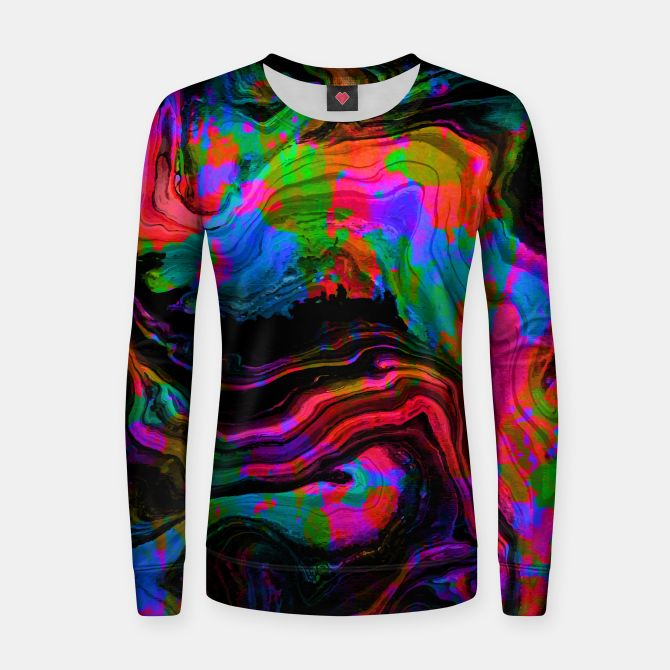 Painted Neon women's sweater by Fimbis   ________________________________ women, girls, sweatshirts, abstract, surreal, fluid art, fluid painting, neon, blue, green, pink, black, vibrant, bright, purple, violet, orange, photoshop, fashion, fashionistas, fashionista, on trend,
