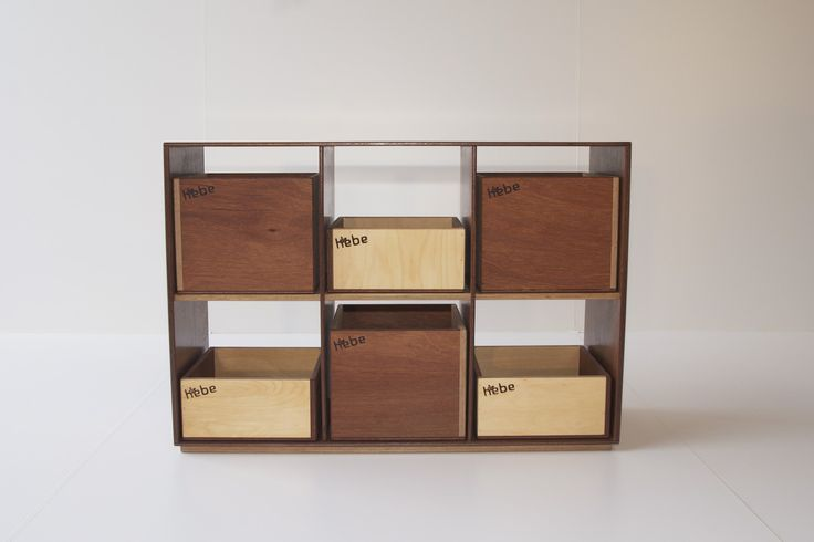 Modular wooden shelving with wooden storage boxes - available at www.hebe.kiwi.nz