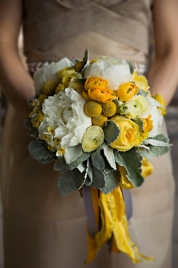 adam and alicia rico wedding.  brooklyn may 2009.  yellow and grey bridesmaid bouquet.