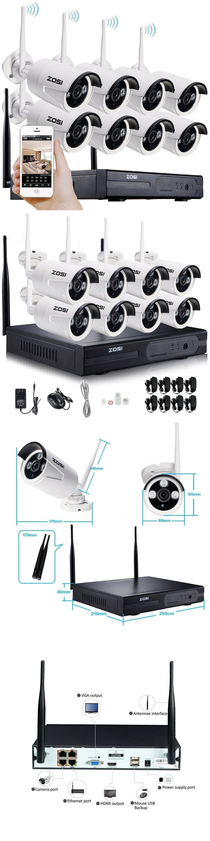 Security Cameras: Zosi 8Ch Wireless Wifi 720P Nvr Outdoor Network Ip Security Camera System 1.0Mp BUY IT NOW ONLY: $269.99