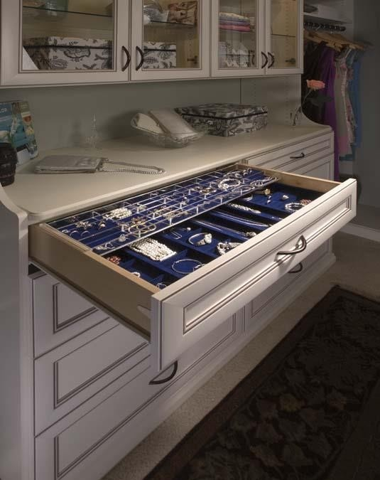 Full Size Jewelry Drawer Double Tray Closet Accessory