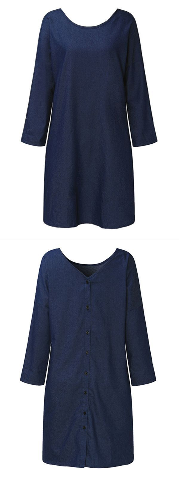 Casual women loose button backless blue denin dresses casual t shirt dresses uk #a #casual #dress #definition #casual #dresses #ebay #casual #dresses #size #18 #casual #dresses #under #50