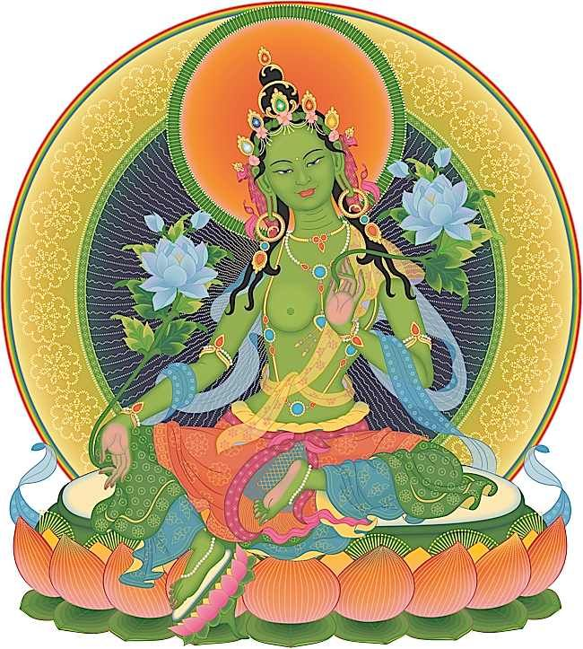 Correct, simplified Green Tara visualization. Each gesture, implement and even the posture, flowers and pose mean something important.