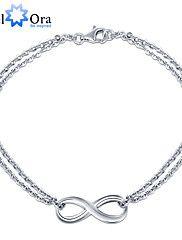 Armbånd+Vedhend+Armband+Sølv+Oval+formet+Bryllup+Fest+Daglig+Avslappet+Smykker+Gave+Sølv,1+stk+–+NOK+kr.+148