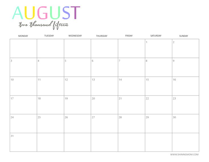 2015 calendars by month
