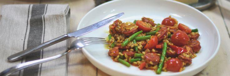 Byggotto med chorizo og parmesan