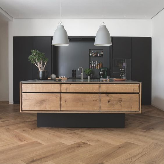 "Extra wide timber herringbone flooring and ""floating"" #kitchen island"