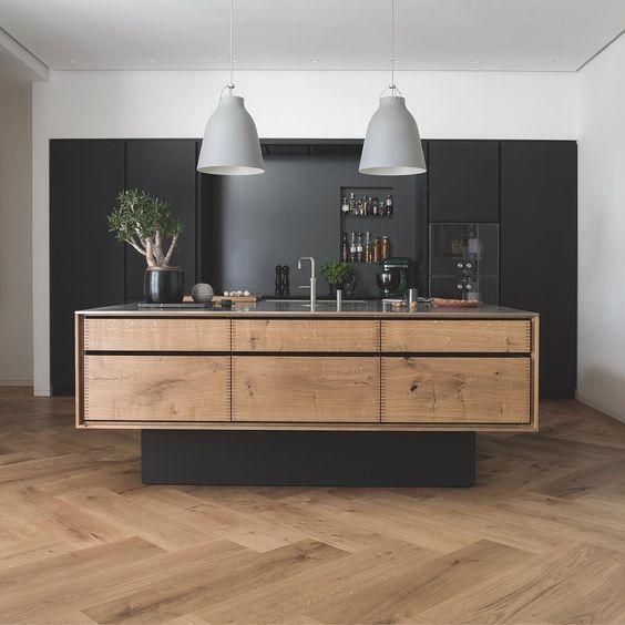 "Extra wide timber herringbone flooring and ""floating"" #kitchen island"