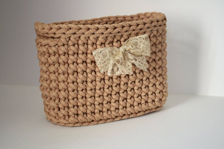 Handmade/ rope crochet/ rectangular storage basket/ home decor by iKNITSTORE on Etsy