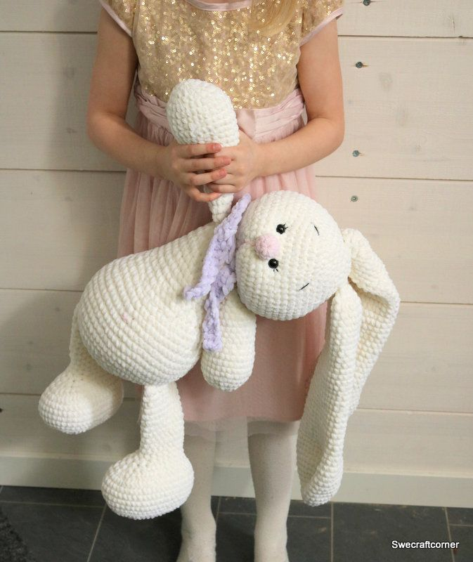 CROCHET pattern big BUNNY Emilia amigurumi 55 cm baby shower gift baptism gift easter bunny stuffed animal memorabilia army by SweCraftCorner on Etsy