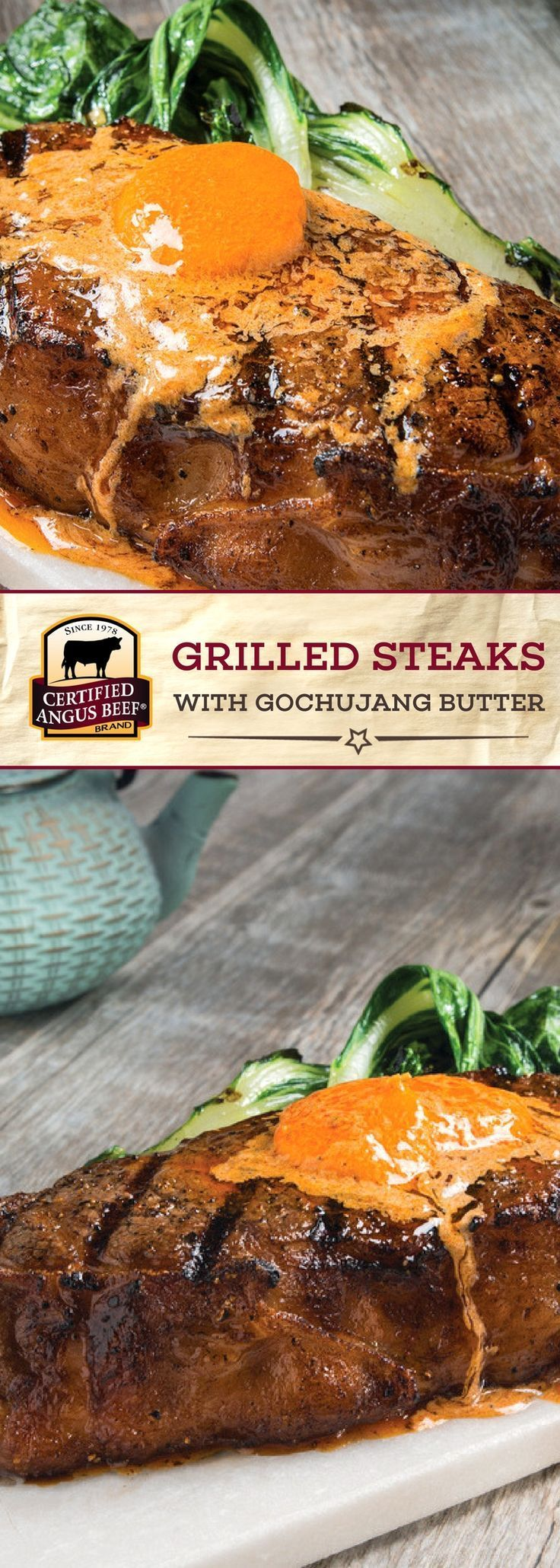 Certified Angus Beef®️️️️️ brand Grilled Steaks with Gochujang Butter is made with the BEST New York strip steaks or tenderloin filets for a delicious dinner! The gochujang butter, made with garlic, sesame oil, honey and other bright flavors, brings out the bold and beefy taste of this dish! #bestangusbeef #certifiedangusbeef #beefrecipe #dinnertime #steakrecipe