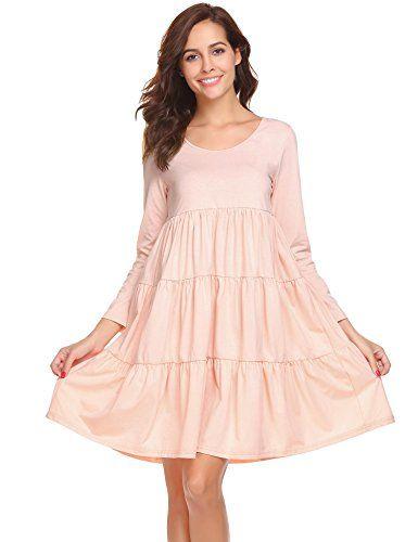 5a95292f2f etuoji Women Long Sleeve Solid Nightgown Soft Casual Sleepwear Loose Tiered  Nightwear Nightdress