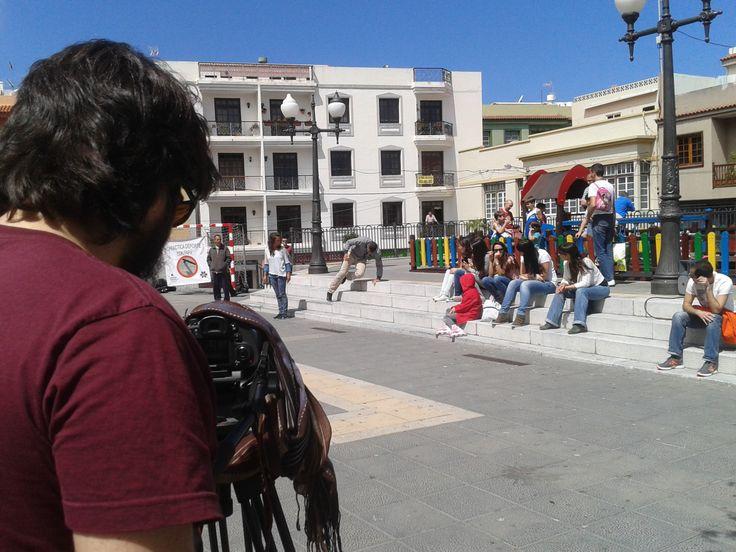 Grabando 'Howzit' del Tenerife Danza Lab en Los Realejos. Plaza de San Agustín, Los Realejos (Tenerife).