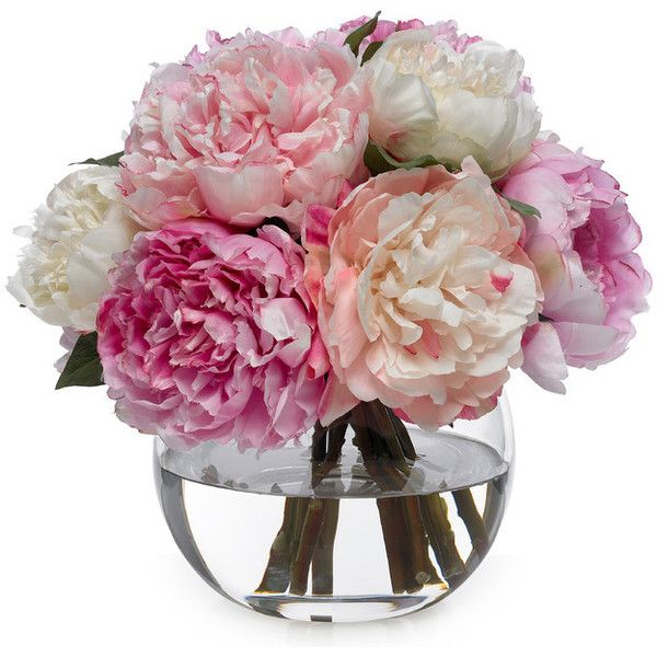 Diane James Large Peony Bouquet - Transitional - Artificial Flower... ❤ liked on Polyvore featuring home, home decor, floral decor, flowers, artificial flowers, peony artificial flowers, silk peony arrangement, silk flower bouquets and flower stems