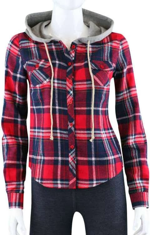 Lovely plaid flannel hooded shirt fashion