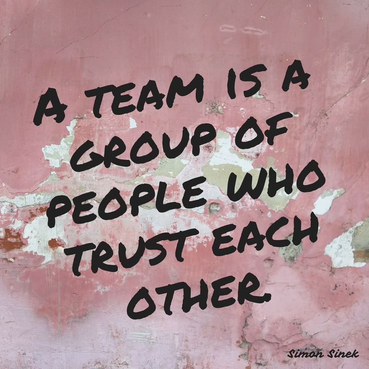 A team is not a group of people who work together. A team is a group of people who trust each other.