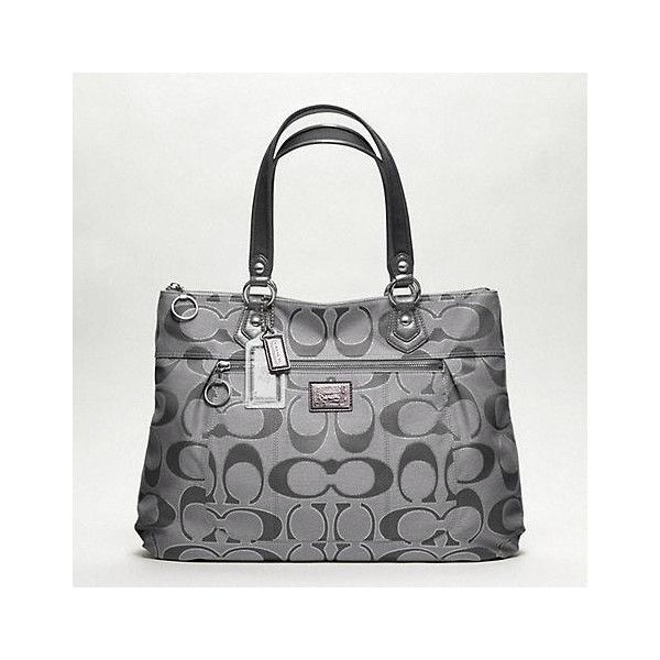 Poppy Metallic Signature Glam Tote ($228) ❤ liked on Polyvore featuring bags, handbags, tote bags, women, coach tote bags, metallic tote bag, tote purses, brown tote bags and tote handbags