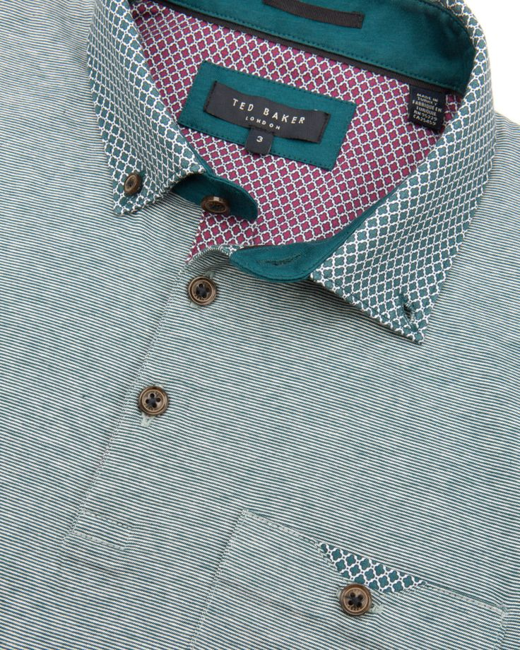 Patterned collar polo - Teal | Tops & T-shirts | Ted Baker ROW