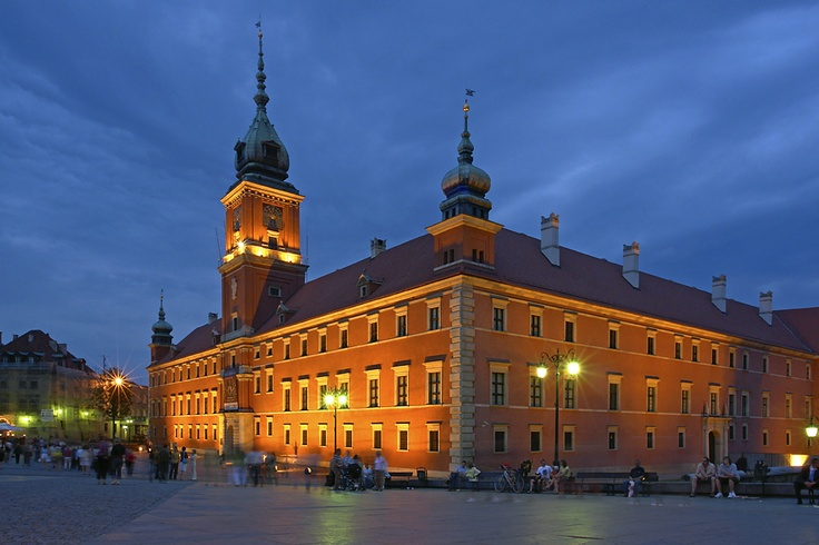 """""""Royal Castle, Warsaw, Poland."""" Neoclassical Baroque style. Official residence of the Polish monarchs, located at the entrance to the Old Town. In 14th century the Duke Casimir I  built the first brick building (Great Tower) at the burg-city's area. In 17th c. the Castle was expanded by King Sigismund III. In its long history was devastated and plundered by Swedish, Brandenburgian and Russian armies. In 1939 was burnt after the German bombing. The imposing façade (90 m long) is built of…"""