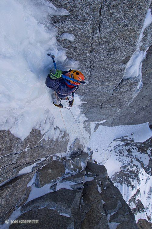 On the ice crux of the Sorenson-Eastman, Dent du Requin.  Jon Griffith Photography